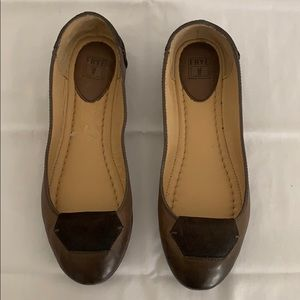 Frye Sz 6.5 Brown Leather Flats. Worn Once!